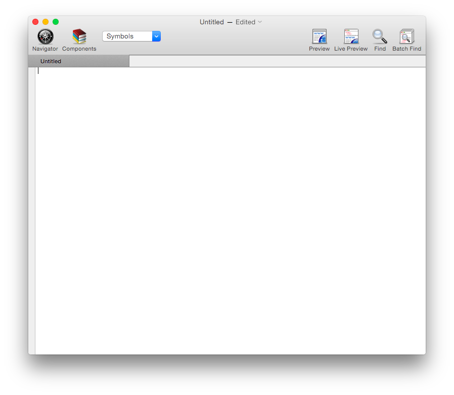Empty Taco HTML Edtor Window