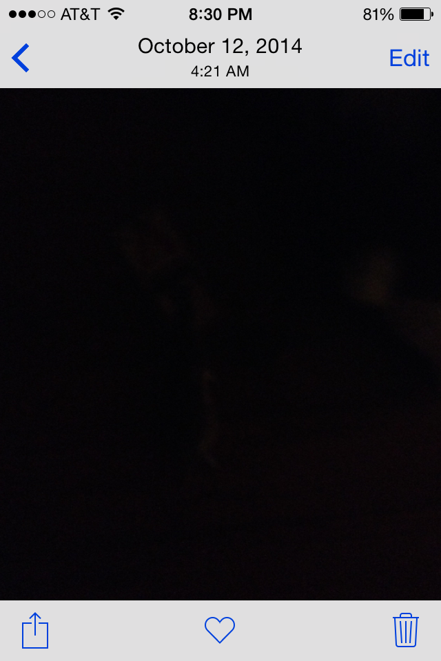 A picture on my photo roll, yet it is black.