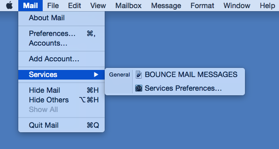 Bounce Workflow in Mail.app menu