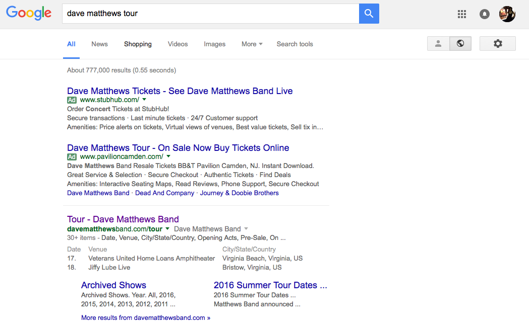 Dave Matthews Tour Google