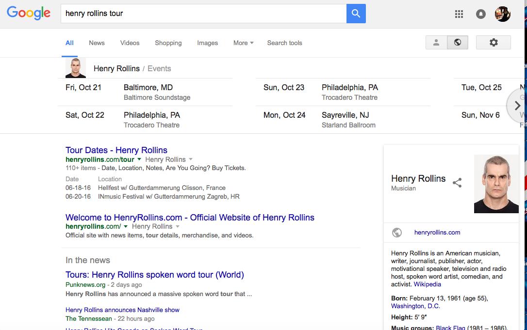 Henry Rollins Tour Google