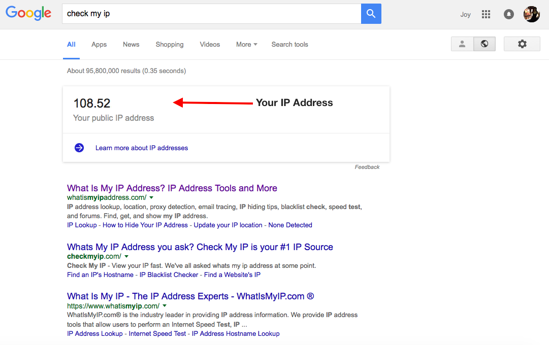 Check My IP Address on Google