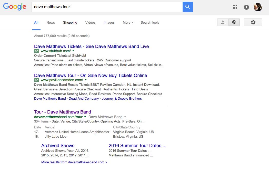 Dave Matthews Tour Google SERP