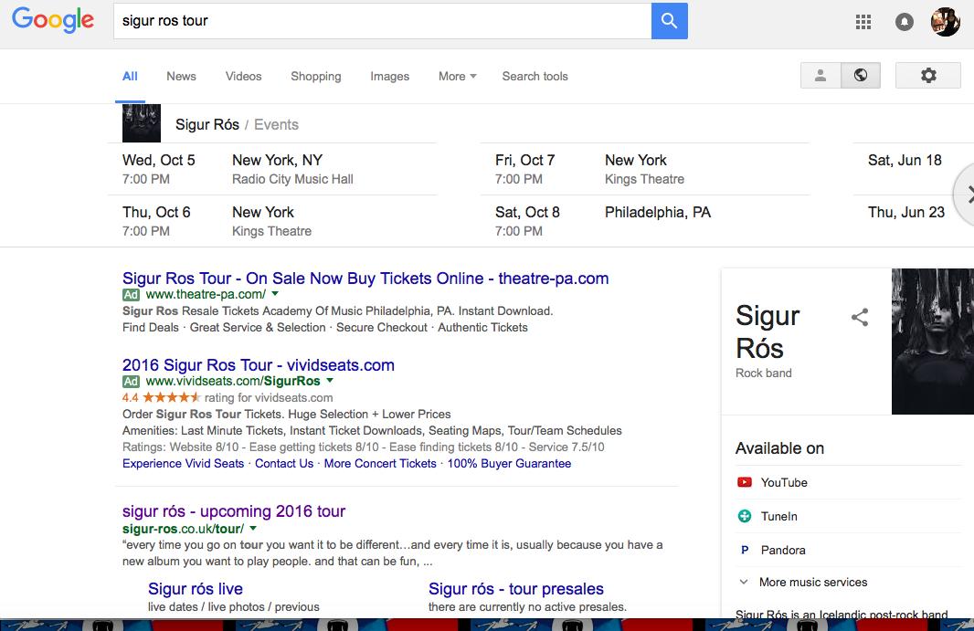 Sigur Ros Tour Google SERP